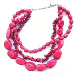 Chunky Red 3-Tier Necklace